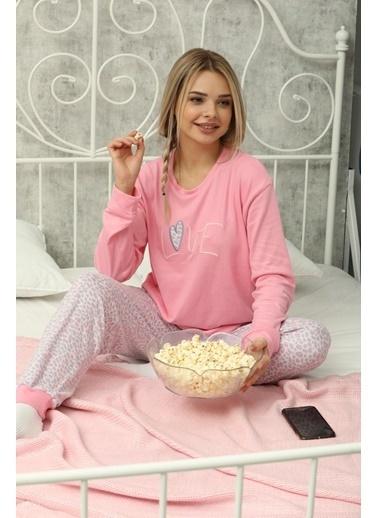 Aydoğan Kadın Termal Pembe Love Pijama Takımı Renkli